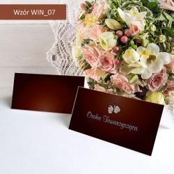 Winietki - Brązowe z kwiatkiem